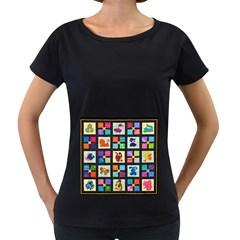 Animal Party Pattern Women s Loose Fit T Shirt (black)