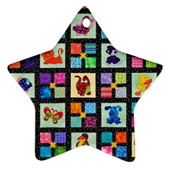 Animal Party Pattern Star Ornament (two Sides)