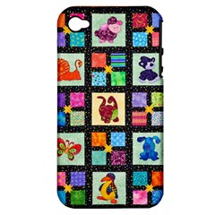 Animal Party Pattern Apple Iphone 4/4s Hardshell Case (pc+silicone)