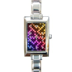 Abstract Small Block Pattern Rectangle Italian Charm Watch