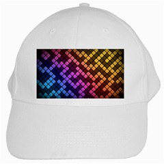Abstract Small Block Pattern White Cap
