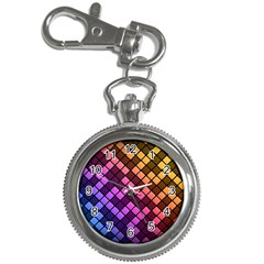 Abstract Small Block Pattern Key Chain Watches