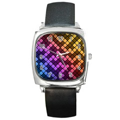 Abstract Small Block Pattern Square Metal Watch
