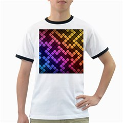 Abstract Small Block Pattern Ringer T Shirts