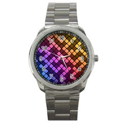 Abstract Small Block Pattern Sport Metal Watch