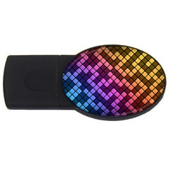 Abstract Small Block Pattern Usb Flash Drive Oval (4 Gb)