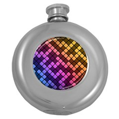 Abstract Small Block Pattern Round Hip Flask (5 Oz)