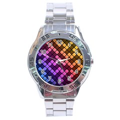 Abstract Small Block Pattern Stainless Steel Analogue Watch
