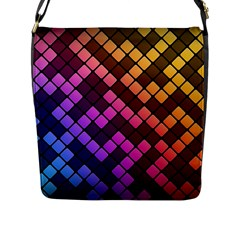 Abstract Small Block Pattern Flap Messenger Bag (l)