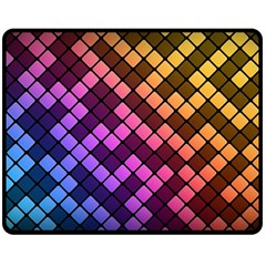 Abstract Small Block Pattern Double Sided Fleece Blanket (medium)