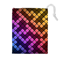 Abstract Small Block Pattern Drawstring Pouches (extra Large)