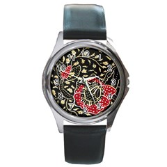 Art Batik Pattern Round Metal Watch