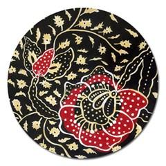 Art Batik Pattern Magnet 5  (round)