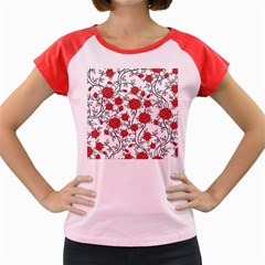 Texture Roses Flowers Women s Cap Sleeve T Shirt