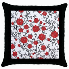Texture Roses Flowers Throw Pillow Case (black)
