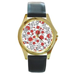 Texture Roses Flowers Round Gold Metal Watch