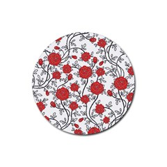 Texture Roses Flowers Rubber Coaster (round)