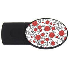 Texture Roses Flowers Usb Flash Drive Oval (4 Gb)