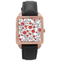 Texture Roses Flowers Rose Gold Leather Watch