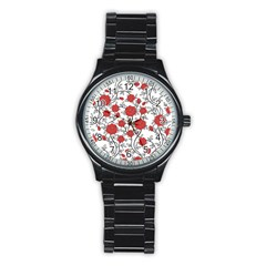 Texture Roses Flowers Stainless Steel Round Watch