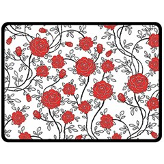 Texture Roses Flowers Double Sided Fleece Blanket (large)