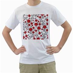 Texture Roses Flowers Men s T Shirt (white)