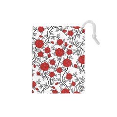 Texture Roses Flowers Drawstring Pouches (small)