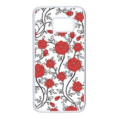 Texture Roses Flowers Samsung Galaxy S7 White Seamless Case