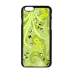 Flowers On A Green Background                      Apple Iphone 6/6s White Enamel Case