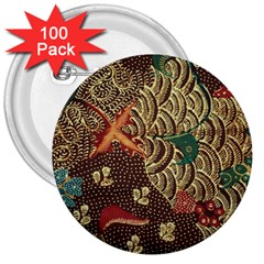 Art Traditional Flower  Batik Pattern 3  Buttons (100 Pack)