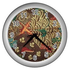 Art Traditional Flower  Batik Pattern Wall Clocks (silver)