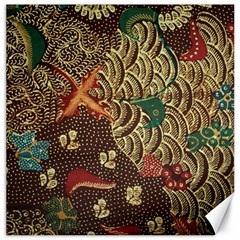 Art Traditional Flower  Batik Pattern Canvas 16  X 16
