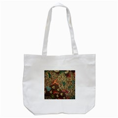 Art Traditional Flower  Batik Pattern Tote Bag (white)