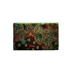 Art Traditional Flower  Batik Pattern Cosmetic Bag (xs)