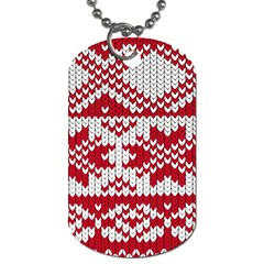 Crimson Knitting Pattern Background Vector Dog Tag (one Side)