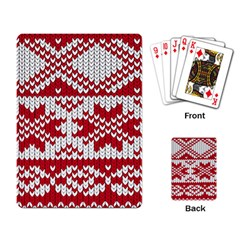 Crimson Knitting Pattern Background Vector Playing Card