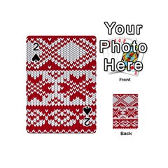 Crimson Knitting Pattern Background Vector Playing Cards 54 (mini)