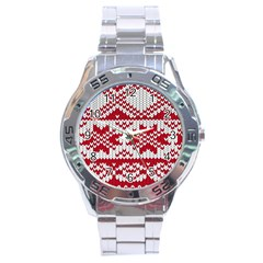 Crimson Knitting Pattern Background Vector Stainless Steel Analogue Watch