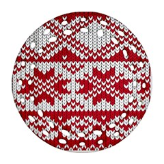 Crimson Knitting Pattern Background Vector Round Filigree Ornament (two Sides)