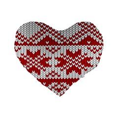 Crimson Knitting Pattern Background Vector Standard 16  Premium Heart Shape Cushions