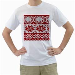 Crimson Knitting Pattern Background Vector Men s T Shirt (white)