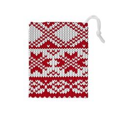 Crimson Knitting Pattern Background Vector Drawstring Pouches (medium)