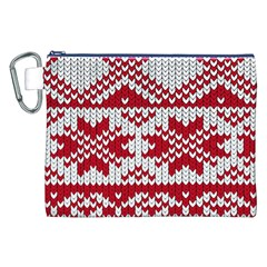 Crimson Knitting Pattern Background Vector Canvas Cosmetic Bag (xxl)
