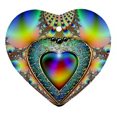 Rainbow Fractal Ornament (heart)