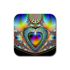 Rainbow Fractal Rubber Coaster (square)