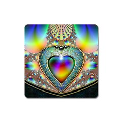 Rainbow Fractal Square Magnet