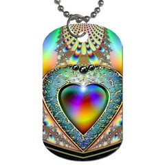 Rainbow Fractal Dog Tag (one Side)
