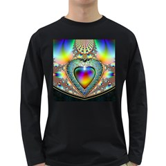 Rainbow Fractal Long Sleeve Dark T Shirts