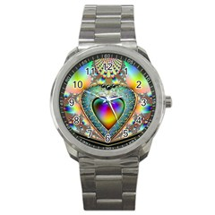 Rainbow Fractal Sport Metal Watch