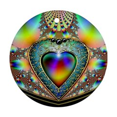Rainbow Fractal Round Ornament (two Sides)